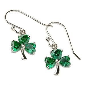 Silver & Green Shamrock Earrings