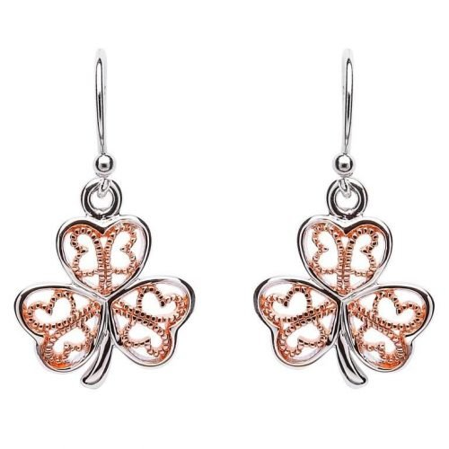 Silver and Rose Gold Plated Shamrock Earrings