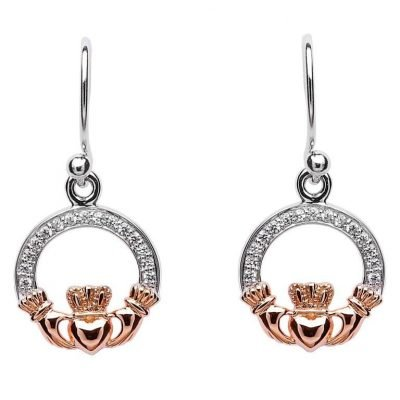 Stone Set Claddagh Silver & Rose Gold Plated Earrings