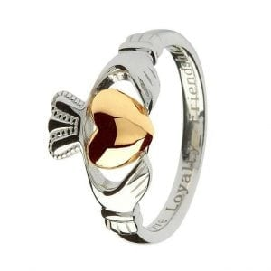 Ladies Silver & Gold Claddagh Ring