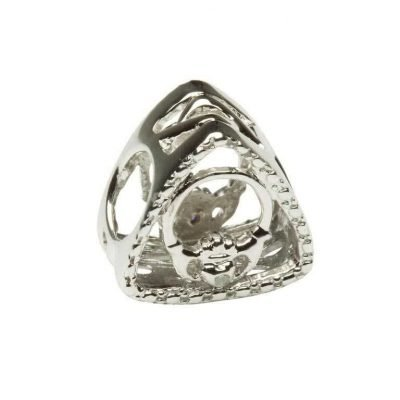 Diamond Set Claddagh Triangle Charm