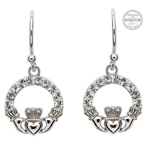 Claddagh Earrings with Swarovski Crystals