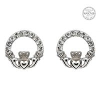 Claddagh Stud Earrings with Swarovski Crystals