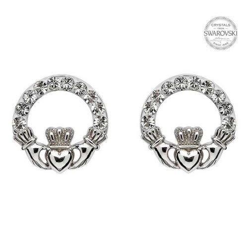 Claddagh Stud Earrings with Swarovski Crystals