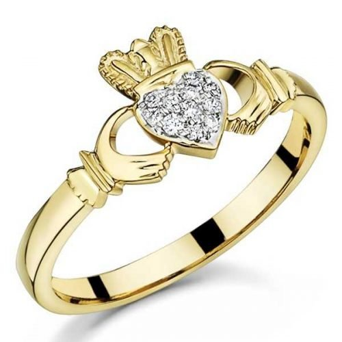 9ct Gold Diamond Claddagh Ring 2