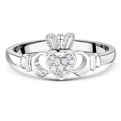 9ct White Gold Diamond Claddagh Ring