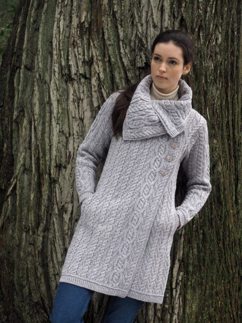 Aran Large Collar Aran Coat Grey